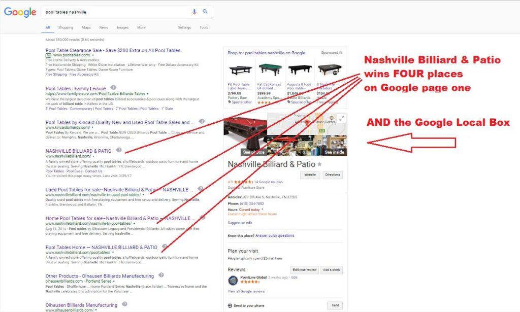 Billiards SEO Nashville Billiard Page One Google